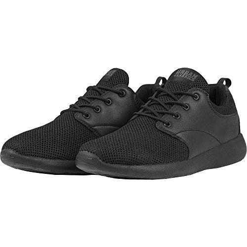 Urban Classics Damen und Herren Light Runner Shoe, Low-Top Sneaker für Damen und Herren, Sportschuhe mit Schnürung, Schwarz, Größe 47