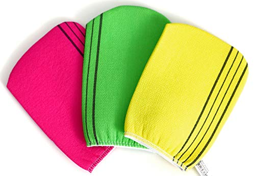 Exfoliating Bath Washcloth. Genuine Korean Towel Cloth Used for Exfoliating. Exfoliator Scrub Mitten for Bath and Shower Use - 3 Pieces (6.7 inch x 5.2 inch). Comes in Yellow, Pink and Green