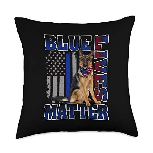 Thin Blue Line Apparel Patriotic Men Women Gifts Police Officer K9 Dog Shirt Lives Matter Blue Line Flag Throw Pillow, 18x18, Multicolor