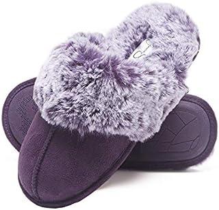 Image of Memory Foam Fuzzy Scuff Slippers for Women