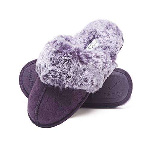 Jessica Simpson Comfy Faux Fur Womens House Slipper Scuff Memory Foam Slip On Anti-Skid Sole (Size Extra Large, Purple)