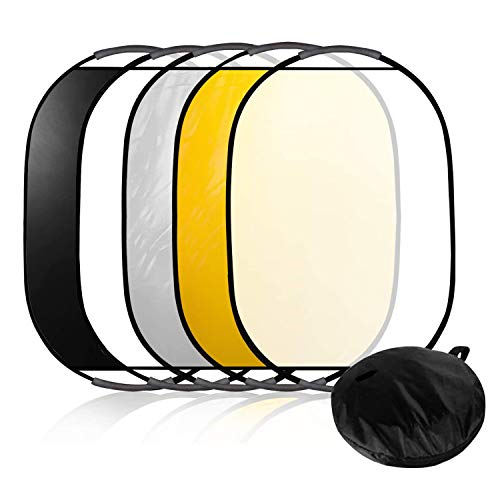 LimoStudio 24quotx36quot Photo Video Studio Multi Collapsible Disc Lighting Reflector 5 Colors in 1 Set Translucent Silver Gold White and Black for Studio or Any Photography Situation AGG1266