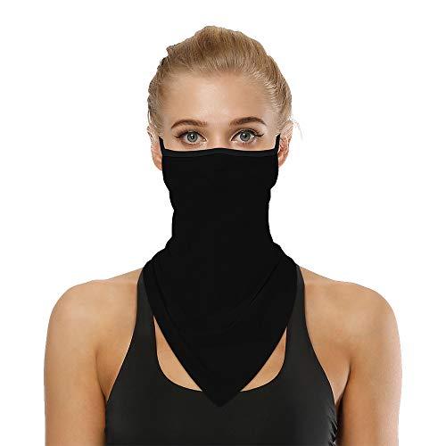 Lantch Halstuch damen Kopftuch Nahtloses Multifunktionstuch Bandana Funktionstücher Unisex Schal(bk,1)