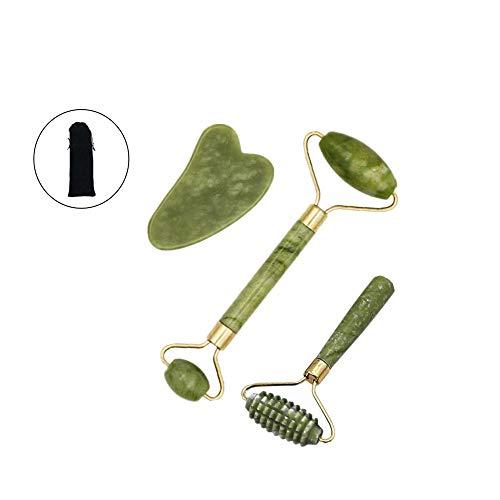 3 piezas Rodillo de Jade Facial Masaje, Anti Aging Gua Sha Facial Masajeador Cara Jade Roller, Natural Facial Masaje Piedra Gua Sha Jade,Para Cuello Cara Ojos Cabeza Cuerpo - Verde