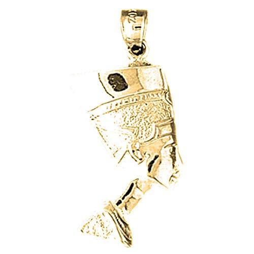 Jewels Obsession Colgante faraón egipcio de oro amarillo de 14 quilates, 34 mm