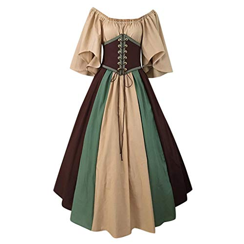 Forthery Women Vintage Dresses Celtic Long Sleeve Medieval Maxi Dresses Renaissance Cosplay Dress(Coffee,S)