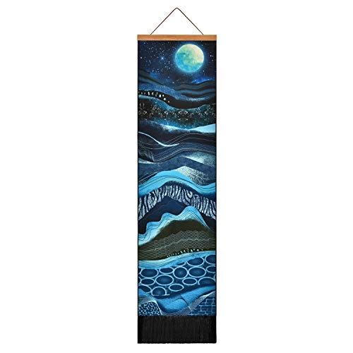 Uspring Mountain Tapestry Psychedelic Art Tapestry Moon Starry Sky Tapestry, Abstract Soil Layer Tapestry Nature Landscape Tapestry for Room (12.2 x 51.2 inches)