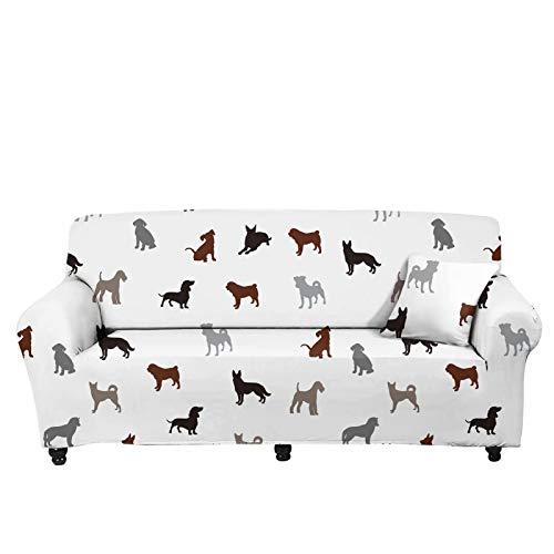 chaqlin Protector de cojín antideslizante para muebles, duradero, lavable, universal, suave para mascotas, perros, fundas elásticas para sofá de 3 plazas, diseño de perro de dibujos animados