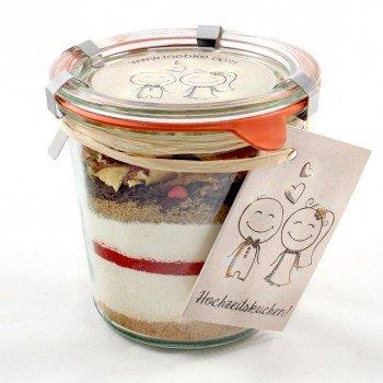 Kuchen Backmischung vom Hof Löbke HOCHZEITSKUCHEN im Weckglas (Erdbeer-Apfel-Kuchen / 580 ml) QUALITÄT AUS DEM MÜNSTERLAND