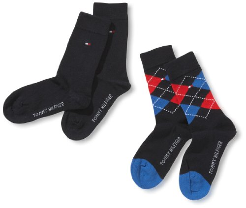 Tommy Hilfiger Jungen Socke 2 er Pack TH Kids Original Argyle, Gr. 35-38, Blau (563 midnight blue)