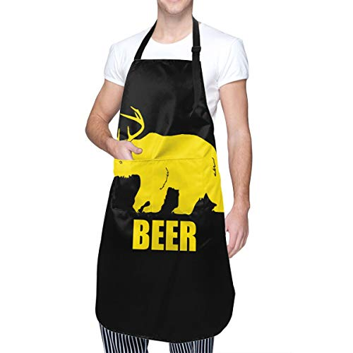 Baca-Uncle Waterproof Kitchen Apron, Adjustable Chef Cooking Bib, Beer Bear Deer Neck Waist Tie Front Kangaroo Pocket