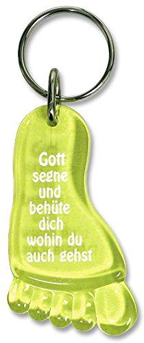Unbekannt - Christliche Geschenkideen °°2965 Schlüsselanhänger GELB Fuß, Acryl 6cm, Gott segne,