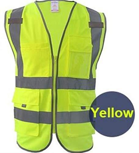 Vest Reflecterende Veiligheid Hoge Zichtbaarheid Veiligheid Vest Reflecterende Polyester Gebreide Reflecterende Vest L-Chest118cm Hi Vis Yellow
