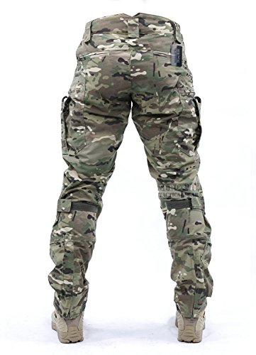 Survival Tactical Gear Men's Airsoft Wargame Tactical Pants with Knee Protection System & Air Circulation System (Multicam Camo, L)
