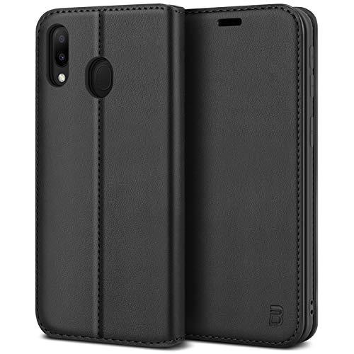 BEZ Handyhülle für Samsung Galaxy M20 Hülle, Premium Tasche Kompatibel für Samsung M20, Schutzhüllen aus Klappetui mit Kreditkartenhaltern, Ständer, Magnetverschluss, Schwarz