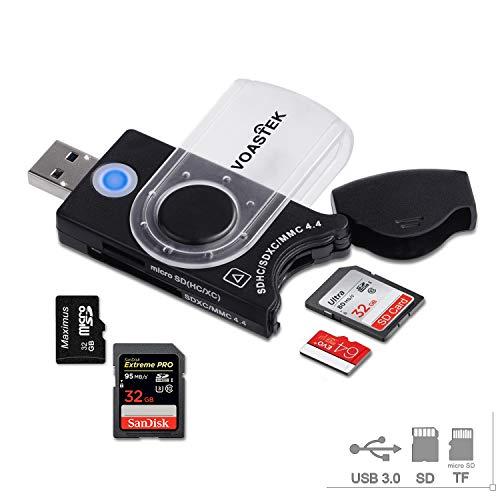 Lettore di Schede di Memoria USB 3.0, VOASTEK Adattatore per Scheda Portatile con 4 Slot per SD / SDXC / SD HC / MMC / TF / Micro SD / Micro SDXC / Micro SDHC