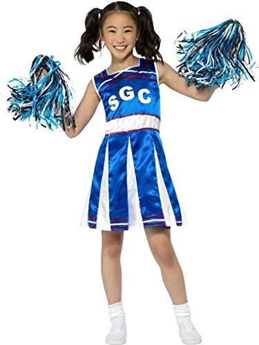 Luxuspiraten - Mädchen Kinder High School Cheerleader Kostüm mit Kleid und Pom Poms, perfekt für Karneval, Fasching und Fastnacht, 122-134, Blau