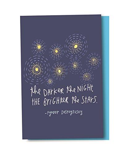 Tree-Free Greetings EcoNotes Conjunto de 12 cartões em branco estrelas brilhantes com envelopes, todas as ocasiões, citação Dostoevsky, inspirador (FS56992)