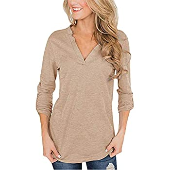 heavKin-clothes Womens 3/4 Roll Sleeve Tops V-Neck Tee Ladies Casual Elegant Shirts Blouses  Brown L-Bust 102cm/40.16