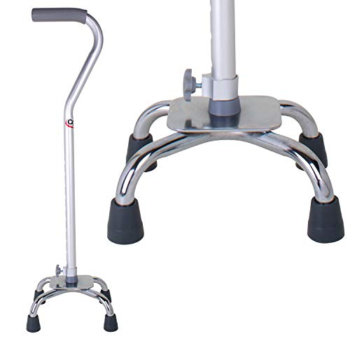 Carex Quad Cane with Small Base - Quad Walking Cane with Offset Cane Handle and Adjustable Height - 4 Tip Cane for Stability, Grey/Silver