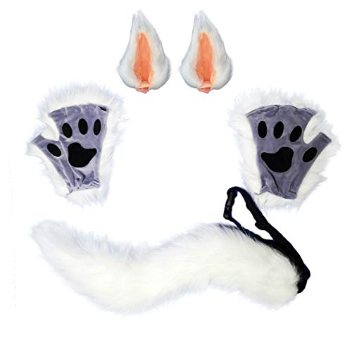 HAOAN Wolf Fox Tail Clip Ears and Gloves Set Halloween Christmas Fancy Party Costume Toys Gift for Children or Adult White