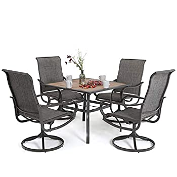 MFSTUDIO 5 Piece Patio Dining Set 37  Square Outdoor Wood-Like Table and 4 Sling Swivel Chairs for Garden,Backyard,Poolside