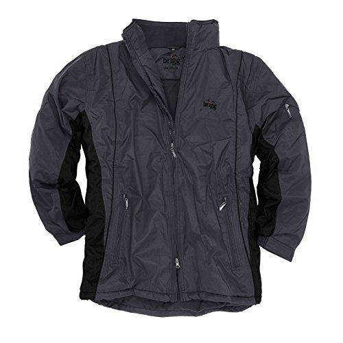 Brigg wasserdichte Outdoor-Jacke in Übergrößen, grau-schwarz, Größe:8XL