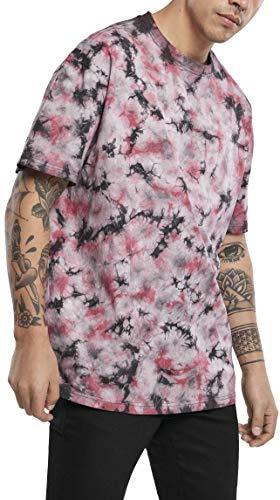 Urban Classics Black Tie Dye Oversized tee Camiseta, Negro/Rojo, XXXXXL para Hombre