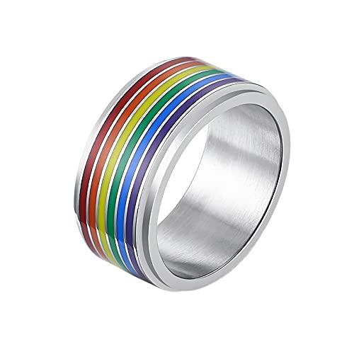 LGBT - Anillo de homosexual con orgullo mes, de acero inoxidable, color plateado, 7