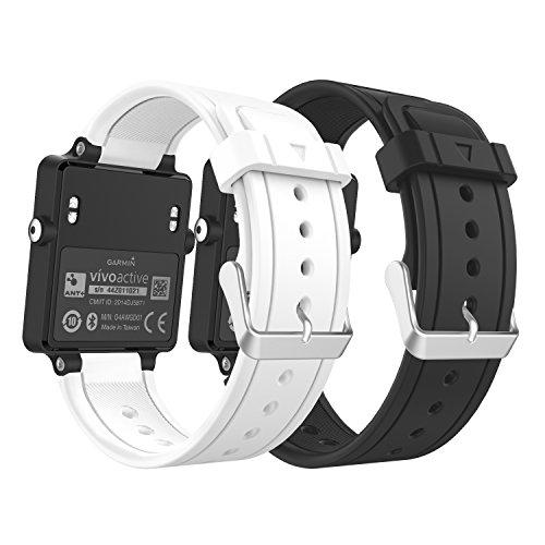 MoKo Garmin Vivoactive Correa de Reloj, Suave Silicona Reemplazo Watch Band para Garmin Vivoactive/Vivoactive Acetate Sports GPS Smartwatch - Negro/Blanco