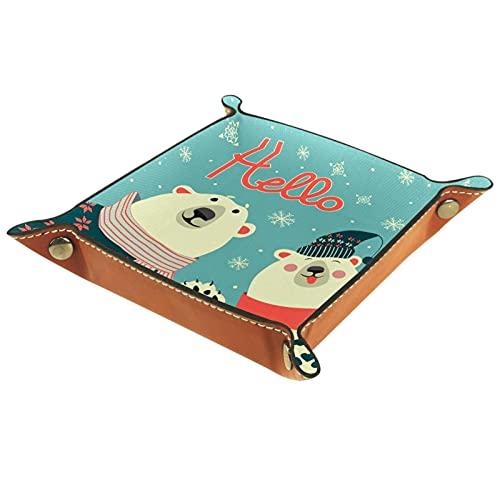 Bandeja de Cuero - Organizador - Hola oso - Práctica Caja de Almacenamiento para Carteras,Relojes,llaves,Monedas,Teléfonos Celulares y Equipos de Oficina