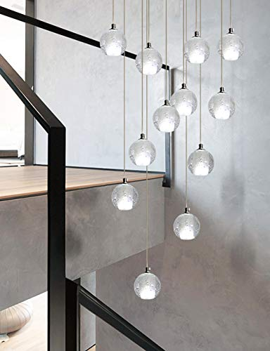 Mlshlf lamp 12 glazen bolletjes kroonluchter voor trappenhuis duplex gebouwd multi lampen hanglamp Villa holle woonkamer lange kroonluchter 50x180 cm
