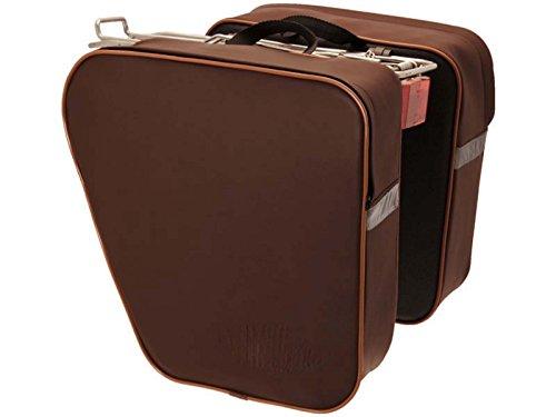 Gepäckträger-Doppeltasche, Fahrradtasche, Braun, Retro-Design, Vintage, Bio-Leder, wasserdicht, 3873M