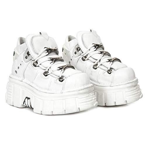 New Rock M.106-S53 Botas Botines Mujer Chica Zapatos Cuero Blanco Piel...
