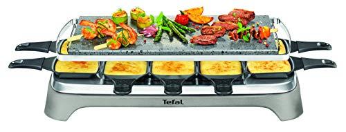 Tefal PR457B Pierrade Raclette | 1350 Watt | Grill-Platte aus Stein + 10 antihaftbeschichtete Pfännchen | inkl. Schaber | abnehmbares Kabel | Grau