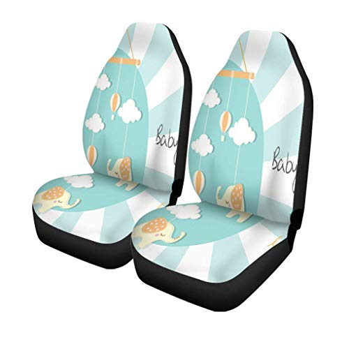 XZfly Autostoelhoezen, kleurrijk luchtbaby-kinderbed-hangspeelgoed op strepengroen, set van 2 beschermers, auto fit voor auto