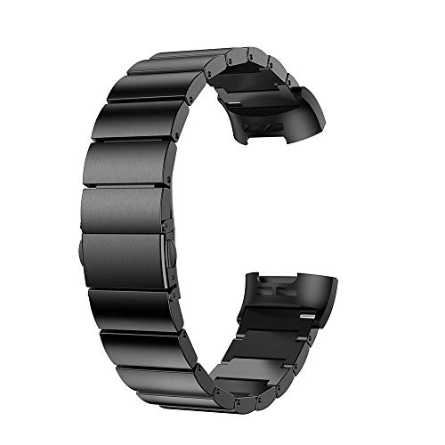 YWZQ Sport Wristband, Compatibile con Fitbit Carica 3 Cinturino/Charge 4 Cinghia, Fasce di Ricambio in Acciaio Inox per Fitbit Carica 3/4 Carica,Nero