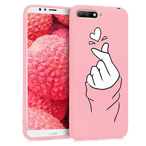 ZhuoFan Cover Huawei Y6 2018 / Honor7A, Custodia Cover Silicone Rosa con Disegni Ultra Slim TPU Morbido Antiurto 3D Cartoon Bumper Case Protettiva per Huawei Y6 2018 / Honor7A, Finger Love
