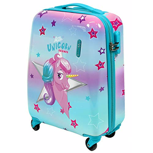 PERLETTI Unicorn Children Luggage - ABS Hard Shell Suitcase for Little Girl - Travel Bag with 4 Wheels Combination Lock Telescopic Aluminum Handle - Cute Pink Trolley Kids 49x34x21 cm (Unicorn, XS)