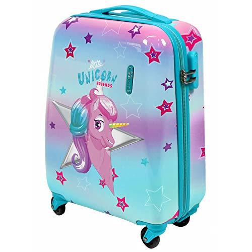PERLETTI - Valigia Bambina Unicorno Rigida - Trolley Cool Kids Rosa e Azzurro in ABS - Bagaglio a Mano Bimba con Lucchetto a Combinazione - Manico in alluminio e 4 ruote - 49x34x21 cm (Unicorno, XS)