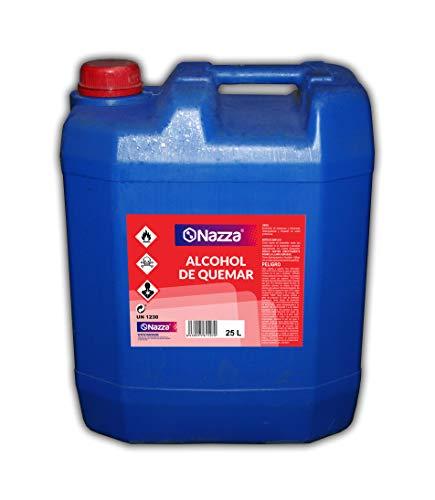Alcohol de Quemar | Enérgica acción desengrasante | Combustible para el encendido de barbacoas y chimeneas | Envase de Plástico de 25 Litros