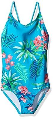 Kanu Surf Girls' Big Chloe Beach Sport 1-Piece Swimsuit, Leonie Floral Aqua, 14