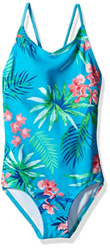 Kanu Surf Girls' Little Chloe Beach Sport 1-Piece Swimsuit, Leonie Floral Aqua, 5