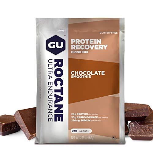 GU Roctane Protein Recovery | Sabor choco | Bebida recuperadora de energía y proteinas trás un intenso esfuerzo | Reductor de fátiga | pack de 10 sobres