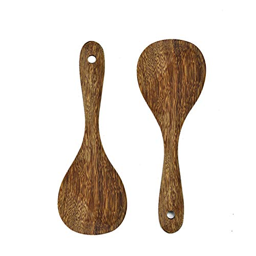 Gonioa 2 Pack Premium Wood Rice Paddle, Rice Serving Spoon, Asian Kitchen Wooden Rice Spatula Wood Kitchen Utensils Set