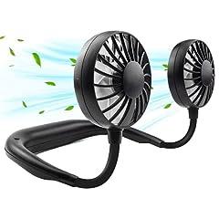 Idea Regalo - Ventilatore da Collo Portatile, Mini USB Ventilatori in testa per il viso Ricaricabile Cappello Ventilatore da Tavolo con 3 velocità, Cuffie Ventilatore per Ufficio, Casa, Aria Aperta Viaggi