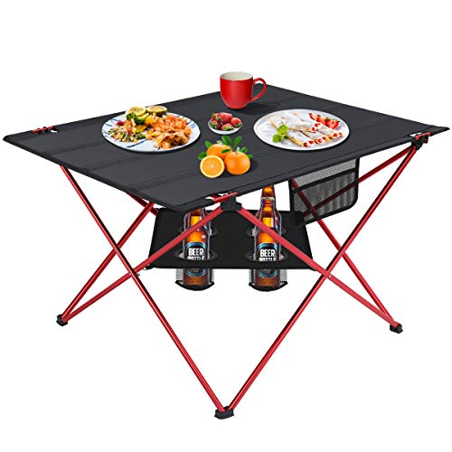 MOVTOTOP Folding Camp Table, 2 Tier Portable Camping Table with 4 Cup Holders and Carrying Bags Patio Table for Indoor and Outdoor Picnic, Beach, Hiking, Travel, Fishing L