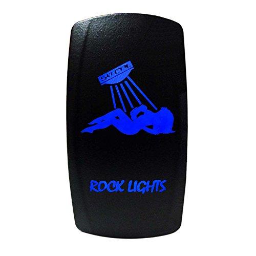 50 Caliber Racing 20A 12V Rocker Switch On/Off Blue LED BacklitRock Lights - UTV, Auto, Boat [5362A51]