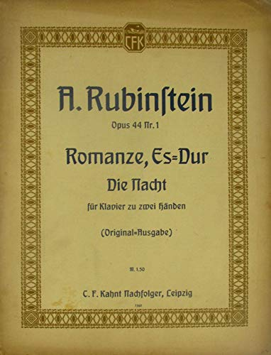 Anton Rubinstein. Romanze (Die Nacht). Es dur. Für Klavier zu zwei Händen.