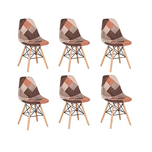BenyLed Pack 6 Sillas de Comedor de Tela con Patas de Mmadera de Haya, Sillas Patchwork de Estilo Nórdico (marrón-6pcs)